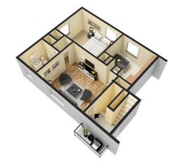 1 Bedroom 500 sq. ft. 3D Furnished