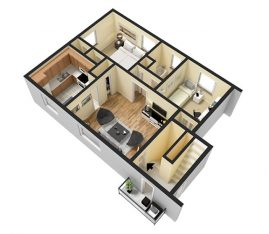 2 Bedroom 600 sq. ft. 3D Furnished