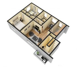 2 Bedroom Deluxe 725 sq. ft. 3D Furnished