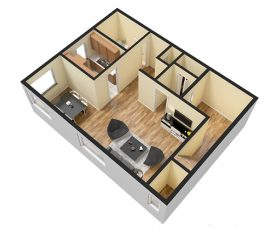 Studio 325 sq. ft. 3D Furnished