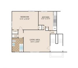 1 Bedroom 500 sq. ft.