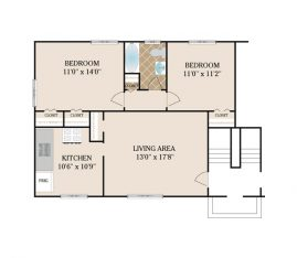 2 Bedroom 600 sq. ft.