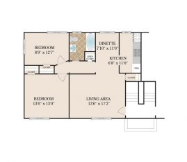 2 Bedroom Deluxe 725 sq. ft.